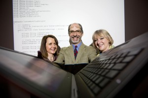 Pictured at the announcement of a €133,000 research grant to Lero, the Irish Software Research Centre, to commercialise an application designed to boost global collaboration were (from left) Dr Helen Kelly-Holmes, Dr John Noll and Dr Sarah Beecham. Photo: Sean Curtin Photo.